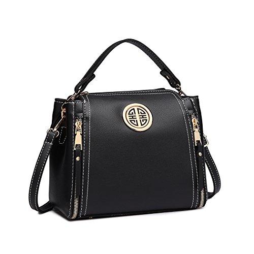 Miss Lulu Damentasche Schultertasche Top Griff Tasche Mode Henkeltasche Pu Leder Handtasche Für Damen Mädchen (Schwarz)