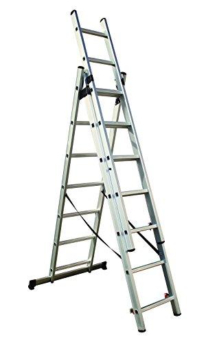 Tech Craft ITCMFL4-4 Mehrzweckleiter Klapp Leiter Alu Anlegeleiter Stehleiter 3 x 7 Stufen Länge 430 cm Tragkraft: 150 kg