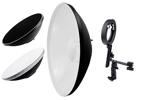 """Phot-R 22 """"Accessori Illuminazione 56 centimetri Beauty Dish Fotografia Photo Studio Luce universale riflettore a nido d'ape griglia bianco traslucido diffusore bianco Interni Bowens S-Type Montare con 'L' a forma di Bowens Flash Staffa per Sony"""