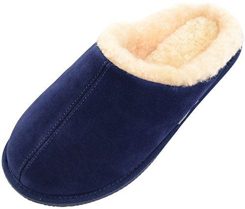Snugrugs Herren Newbury, Sheepskin Mule Slipper with Rubber Sole Hausschuhe, Blau (Marineblau), 40.5 EU (Navy Lambswool Herren)