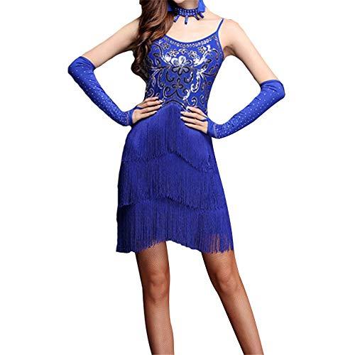 EVERAIE Damen Quaste Tanzkleid, Frauen Funkelnde Pailletten Fransen Flapper Latin Dance Kleid ärmellos, figurbetont Quaste Gesellschaftstanz Party Kleid Wettbewerb Leistung Dancewear Kostüm
