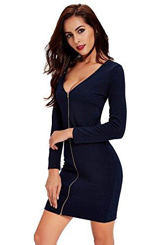 Babyonlinedress Femme Sexy Robe Automne/Soirée Moulante Elastique Courte avec Manches Longues en Tricot -Deux types d'usure Marine Foncé
