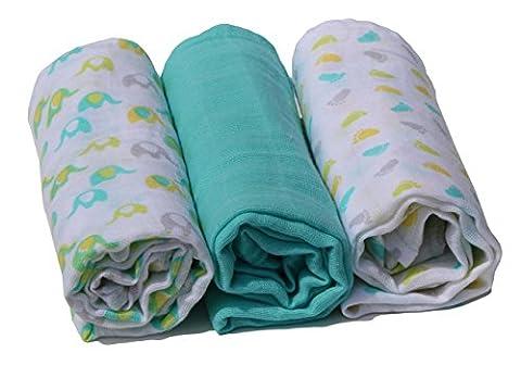 Mulltücher Happy Baby bedruckt Set 3 Stück Premium Qualität, doppelt gewebt 70 x 70 cm (Elefant-Footprints-Mint)