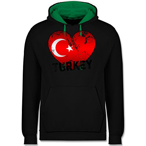 Länder - Turkey Herz Vintage - Kontrast Hoodie Schwarz/Grün