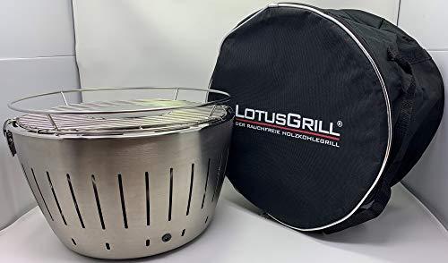 LotusGrill Lotus Edelstahl/Stainless Steel Genießerset inkl. Hallinger BBQ Rub Pure Chicken und Tragetasche