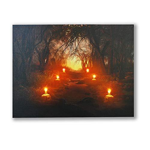 NIKKY HOME Halloween-Wandbild auf Leinwand, mit LED-Beleuchtung, verzauberter Wald