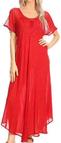 Sakkas 16610 - Hayden gesticktes Lace-Up Kaftan Kleid/Cover mit Ösen Ärmeln - Rot - OS