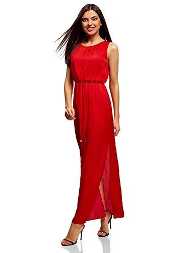 ... oodji Collection Damen Maxi-Kleid aus Fließendem Stoff Rot (4500N) ...