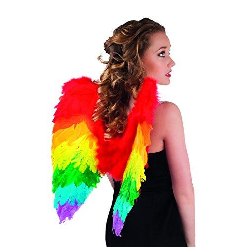 Flügel Pegasus Kostüm - NET TOYS Bunte Engelsflügel Regenbogen Einhorn Flügel 50 x 50 cm Rainbow Federflügel Kostüm Flügel Engel