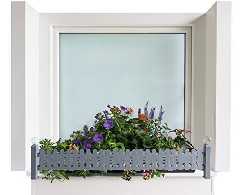 GREEN CREATIONS Blumenkastenhalterung masu Basis-Set passt auf Jede Fensterbank von 78 cm bis 140 cm ohne Bohren, ohne Beschädigung der Fassade (Basisset: Classic, Signalgrau)