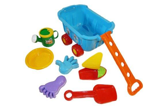 t großem Bollerwagen Strandwagen mit viel Sandspielzeug Schippe, Gießkanne , Boot und diverse Förmchen,Handwagen auch für Sandkasten Kind (Oster-spielzeug Für Kinder)
