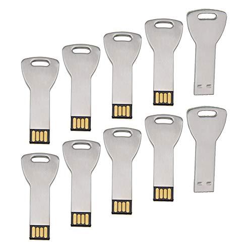 Uflatek 2 GB Pendrive Pack of 10 Llave Memoria USB Metal U Disco Plata USB 2.0 Flash Drive Alta Velocidad Unidad Flash USB Divertido Memory Stick Almacenamiento de Datos para Regalo