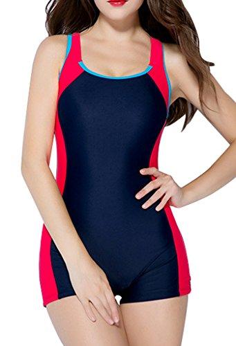 CharmLeaks Damen Badeanzug Muscleback U-Ausschnitt Bein Hotpants Schwarz Rot 42 (Damen-badeanzug Gestreifte)