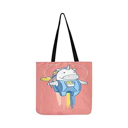 Raum Einhorn Tasty Red Canvas Tote Handtasche Schultertasche Crossbody Taschen Geldbörsen für Männer und Frauen Einkaufstasche ()