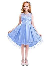 4c6c04f09 IWEMEK Vestido de niña de Flores para la Boda Princesa Vestidos de Dama De  Honor Sin Mangas Hi-Lo Fiesta Comunión Cumpleaños Bola…
