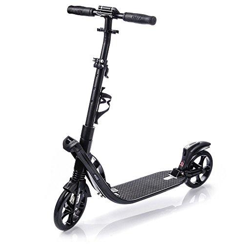 Patinete ruedas grandes 200 mm El kick Scooter Plegable para niños y adultos muy duradero hasta 100 kg Portabotellas HI-WAY