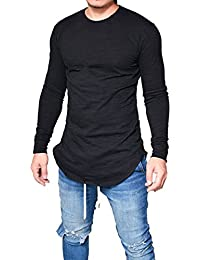 BUSIM Men's Long Sleeve Shirt Slim O-Neck Muscle Solid Color Casual Fashion T-Shirt Shirt Clearance Sale Suitable...