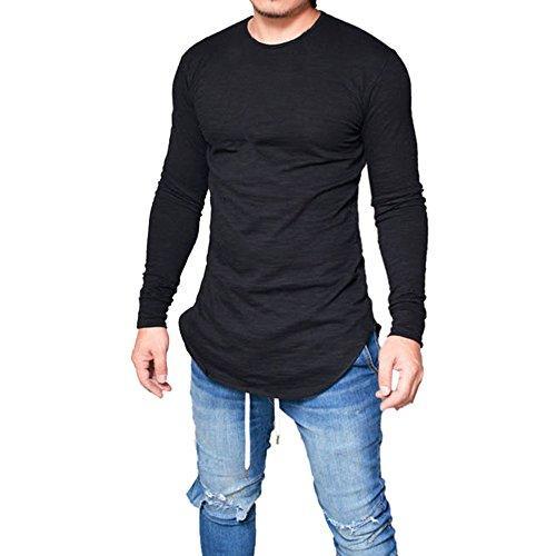 Langarmshirt Herren, Sunday Männer Slim Fit O-Ausschnitt Langarm Muscle T-Shirt Casual Tops Bluse täglichen Frühling Solid Casual O Hals Shirt (XL, Schwarz) (Muscle Tee Solides)