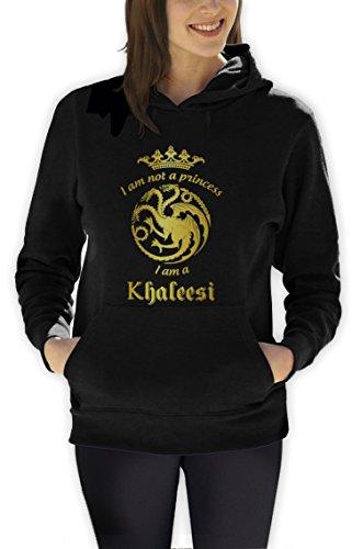 Game I'm Not A Princess I'm A Khaleesi Thrones Damen Schwarz Medium Kapuzenpullover Hoodie (T-shirt Green Princess)