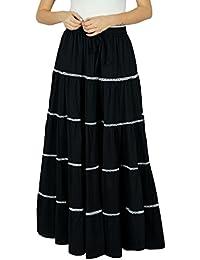 Bimba femmes longues Flaired coton Jupe Boho Maxi Bottoms taille élastique  Indian Vêtements ca8530101d93