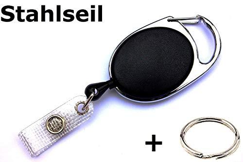 Waizmann.IDeaS® STAHLSEIL Ausweisjojo Jojo Zipper oval Schlaufenclip Aufrollmechanismus textilverstärkter Lasche -