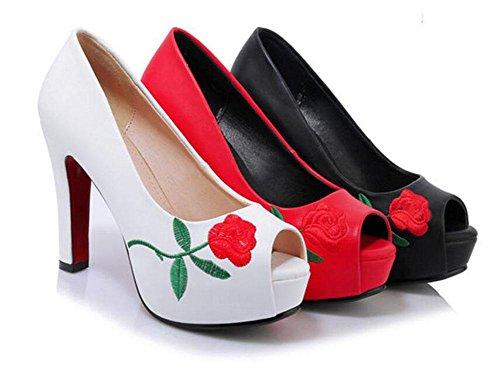 SHINIK Peep Toe Pump Bestickte Wasserdichte Plattform High Heel Shallow Mund Vier Jahreszeiten Sandalen Für Frauen Black