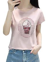 T-Shirt Damen Elegante Sommer Kurzarm Rundhals Embroidery Gemustert  Oberteile Schöne Pailletten Basic Tops Casual c177d198cf