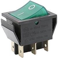heschen Rocker Interruptor ON-OFF DPDT 6Terminales Luz verde Iluminado 16A 250VAC 2unidades