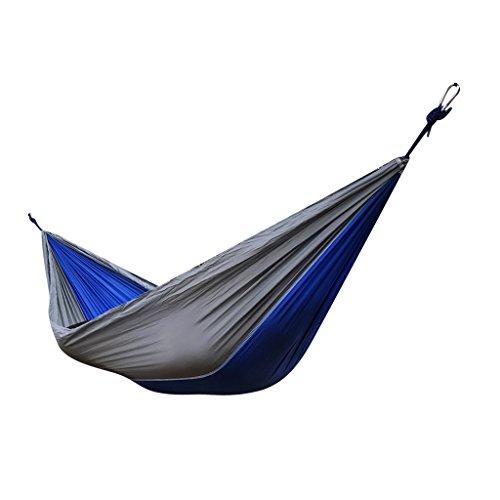 FLAMEER Parapluie De Camping De Voyage De Nylon De Parachute De Portable De Double Personne + Corde Et Crochet - Bleu Royal et Gris, 270 x 140 cm