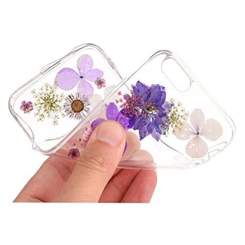 Pour iPhone 6 Plus / 6s Plus, Epoxy Dripping Pressed Real Dried Flower Soft Transparent TPU Housse de protection JING ( SKU : Ip6p2996j ) Ip6p2996n