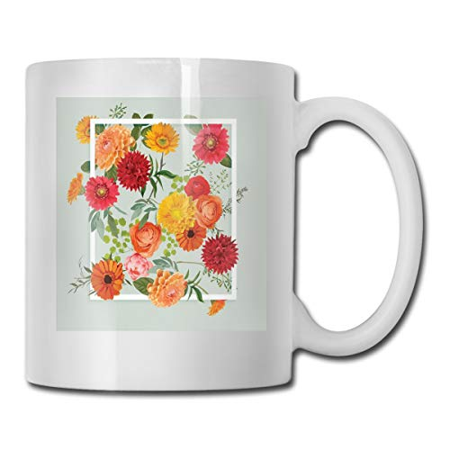 Jolly2T Funny Ceramic Novelty Coffee Mug 11oz,Floral Flowers Leaves Buds Frame Art Print,Unisex Who Tea Mugs Coffee Cups,Suitable for Office and Home