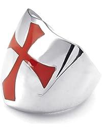 KONOV Joyería Anillo de hombre, Clásicos Escudo Cruz, Acero inoxidable, Color rojo plata (con bolsa de regalo)