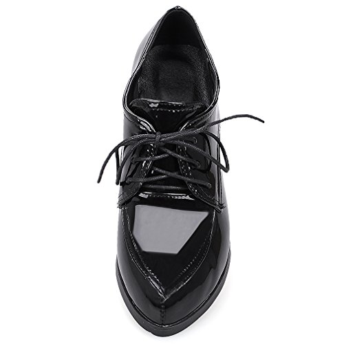 ENMAYER Womens PU Block Mid Heels Lace Up Loafers Flats Bureau Lady Court Shoes Oxford Chaussures Ankle Boots Noir#727