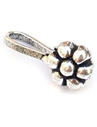 Beatnik Antique Oxidized Silver Round Flower Tribal Design Nose Ring/Nose Stud For Women And Girls