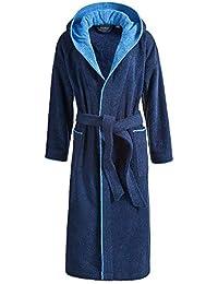 22e6249d338669 Egeria Cairo Bademantel Saunamantel mit Kapuze für Damen & Herren | Dark  Blue/Atlantic Blue