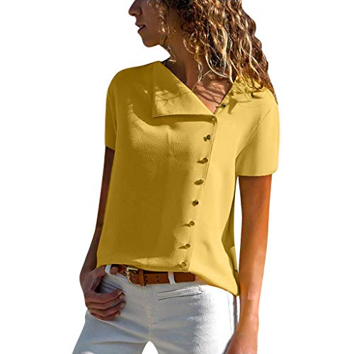 Ausgeschnitten Schnalle (Vimoli Blusen Damen beiläufiges Revers Neck T-Shirt Kurzarm Schnalle Bluse Chiffon Asymmetrie Tops Einfarbig (Gelb,De-46/CN-2XL))