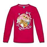 Spreadshirt Bibi Und Tina Wettreiten Im Wald Kinder Premium Langarmshirt, 122/128 (6 Jahre), Dunkles Pink