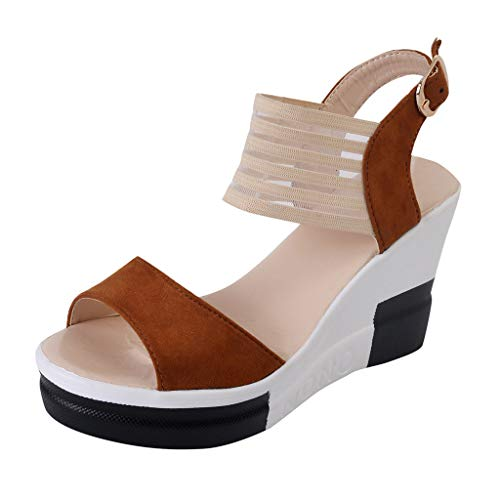 Makefortune 2019 Sandalen Damen Sommer, Frauen Keil Schuhe Casual GüRtelschnalle High Heel Schuhe Mode Fisch Mund Sandalen Peep-Toe Sommer Sandaletten Strandschuhe Größe 35-40