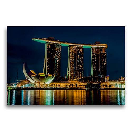 Calvendo Premium Textil-Leinwand 75 cm x 50 cm quer, Singapur   Wandbild, Bild auf Keilrahmen, Fertigbild auf echter Leinwand, Leinwanddruck Orte Orte