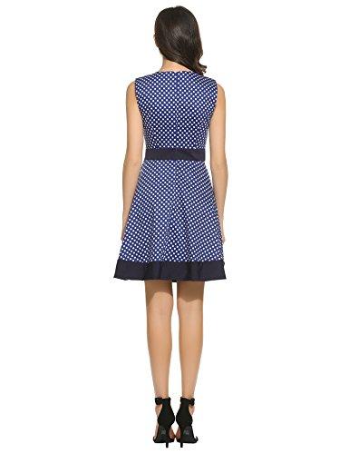 ANGVNS Damen 50s Vintage Kleid Polka Dots Cocktailkleid Sommerkleid Partykleid A-Linie Faltenrock Kleid Dunkelblau