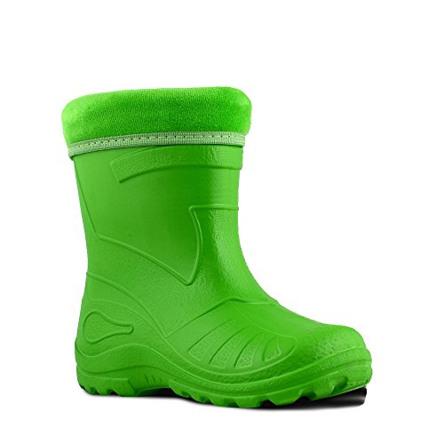 KOLMAX superleichte EVA Kinder Gummistiefel gefüttert 050 (24, grün) (Gefüttert Falten Hose)