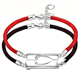 Couple Amants-2Pcs Heart-Shaped Lucky Black Rope Red Rope Bracelet