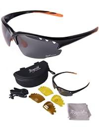Fusion Schwarz Sportbrillen für Männer und Frauen. Polarisierte Wechselgläser. Für Angeln, Fahren, tennis, usw. UVA / UVB Schutz