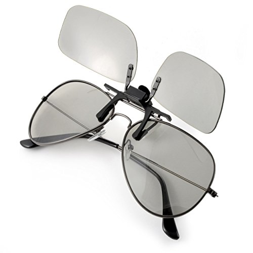 3D-Brillenaufsatz für Brillenträger, für passive 3D TVs, PC-Spiele oder Kino RealD, Passivbrille (zirkular polarisiert) Farbe: schwarz, Marke Ganzoo