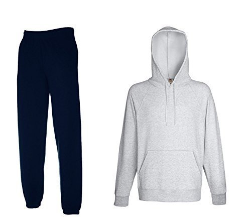 2er-Set Fruit of the Loom Hausanzug Sportanzug Jogginghose & Kapuzensweatshirt (XXl, Navy & Grau) -