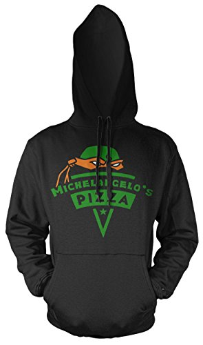Michelangelo's Pizza Männer und Herren Kapuzenpullover | Teenage Mutant Ninja Turtles Splinter Fun (M, Schwarz) (Turtles Mutant Kleidung Teenage Ninja)