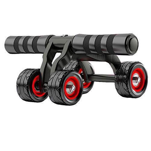 QY 4 Round Bauchmuskelrad Bauchmuskelrad Fitnessgerät Heimsport Rad, Schwarz