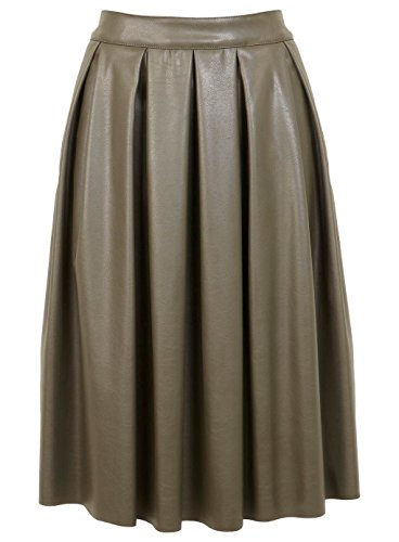 Miss Selfridge Khaki PU Midi Skirt UK 12