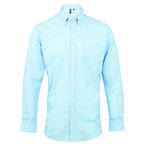 Men's Signature Premier Oxford Langarm Shirt Kragen Blau - Hellblau