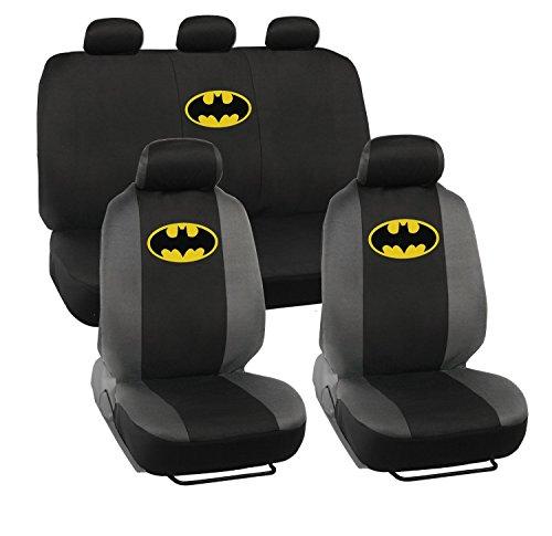 11-teiliges Batman Logo Set–Sitzbezüge W/Kopfstützen, Schulterpolster, Lenkrad & Bankauflage